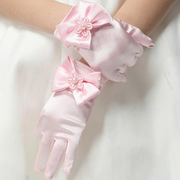 Wholesale Pageant Gloves Girls - 2016 Kids Winter Fingerless Gloves With Bow Lace Pearl Satin Bridal Gloves Pageant Princess Flower Girl Wedding Glove Free Shipping In Stock