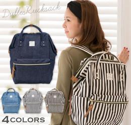 Wholesale Backpack Diaper - Anello Backpack Blue White Stripe Japan Unisex Fashion Backpack Rucksack Diaper Bag Backpack Travel School Bag 4 color KKA2063