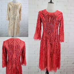 Wholesale Sample Long Sleeve Evening Dresses - Real Sample Cheap Red Beaded Evening Dresses Knee Length 3 4 Sleeves Bling Crystal Dubai Arabic Formal Party Gowns 2017 In Stock