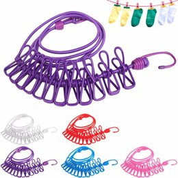 Wholesale Cloth Hanger Portable - Clothesline Clips 2017 Hotselling 185cm Portable Multifunctional Drying Rack Clips Cloth Hangers Steel Clothes Line Pegs Travel Clothespins