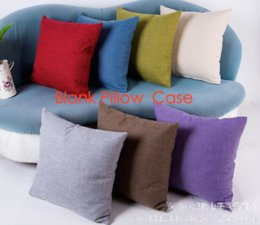 Wholesale Custom Design Homes - 100pcs plain colorful 110G linen blank cushion cover pillow case candy color plain pillow case custom print design wholesale