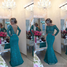Wholesale Turquoise Carpet - Turquoise Lace Off The Shoulder Evening Gowns 2017 Teal Mermaid Open Back Long Sleeves Prom Dresses See Through China Vestido Social