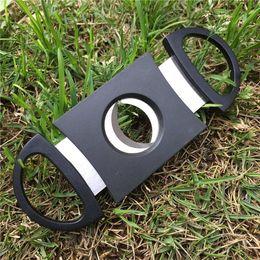 suporte para charutos aço Desconto Bolso De Plástico De Aço Inoxidável Dupla Lâmina Cortador De Charuto Tesoura Faca Tabaco Preto Novo DHL livre