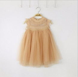 Wholesale Denim Tulle - 2017 Girls Party Dress Summer Lace Tulle Children Holiday Dress Candy Color Princess Dress 2-7T Wholesale