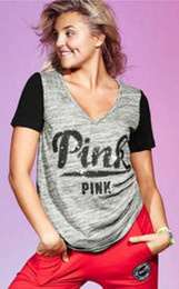Wholesale Stock Women S Clothing - summer in stock black grey T-Shirt Love Letter shirt casual short sleeve pink Clothing Apparel V- Neck Vogue Tops