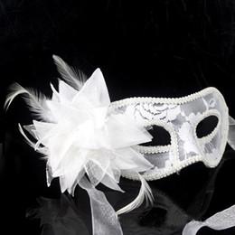 Wholesale White Feather Flowers For Sale - Hot sale Venetian Feather Lace Flower Eye Mask Masquerade Ball Costume Party Fancy Dress masque venitien MOQ:100PCS