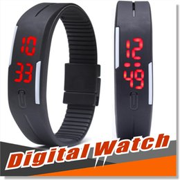Wholesale Led Screen Wristband - LED Digital Wrist Watch Ultra Thin Outdoor Sports rectangle Waterproof Gym Running touch screen Wristbands Rubber belt silicone bracelets