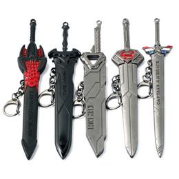 Wholesale Black American Models - Keychian Jewelry Captain American Iron Man Batman Superman Weapon Model Key Chain Alloy Black Car Key Rings For Gift