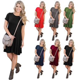 Wholesale Woman Green Fleece Lined - Women Dress Summer Casual Solid O-Neck Short Sleeve Solid Front Lace-up Pleated Elastic Female Maxi Dresses