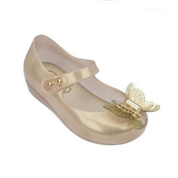 Wholesale Latex Hot Girls - Mini Melissa 2017 HOT SALE 3D Butterfly Jelly Sandals Jelly Children Sandals Princess Fashion Sandals Girl