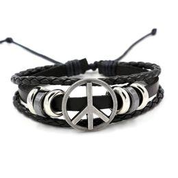 Wholesale American Flag Wood - Fashion lovers present Peace logo leather bracelet for men and women Charm Bracelets cheap good supply simple bracelet wholesale