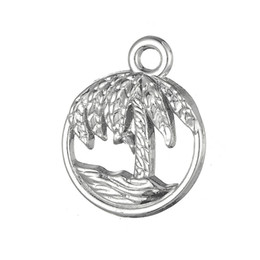 Wholesale Tree Charms Wholesale - Silver Plated Beach Palm Tree And Waves & Claddagh Love Loyalty Friendship Charms Zinc Alloy Charms for DIY Necklaces Bracelets Making