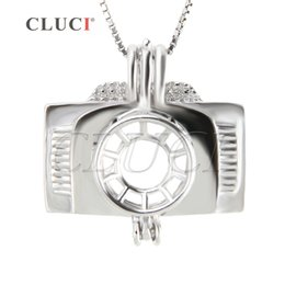 Wholesale Christmas Cameras - New Fashion Charm for Women 3pcs Camera Shape 925 Sterling Silver Cage Pendants, 19.9*19.9*10.1mm