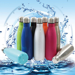 Wholesale Coke Drinks - Cola Shaped Water Bottles Double Layers Vacuum Stainless Steel Water Bottles 500ML Creative Cups Coke Water Bowling Bottles