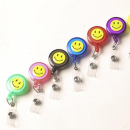 Wholesale id name office card holder - kawaii 1Pcs Smiling Face Retractable Pull Key ID Card Clip ID Badge Lanyard Name Tag Card Holder Recoil Reel For School Office Supplies
