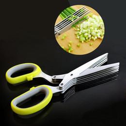2019 cuchillos de cocina de mango blanco Venta caliente Multifunción de Cocina Cuchillos de Acero Inoxidable Tijera de Especias Cortado Cebolla Verde Herramienta de Corte de papel Tijeras