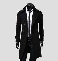 Wholesale Trench Coat Mens Large - Wholesale- Fashion fashion large lapel double breasted long wool coat mens design trench coat male autumn and winter outerwear 3XL