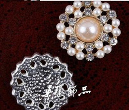 Wholesale Sewing Center - Pearl Rhinestone Metal Button for Crafts and Scrapbooking Hair Flower Center Wedding Invitation Sewing Accessories 50pcs 22mm