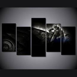 Wholesale Batman Sheets - 5 Pcs Set Framed HD Printed batman arkham knight betmen Painting on canvas room decoration print poster picture canvas Free shipping ny-1867