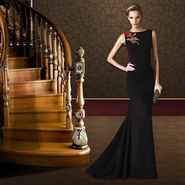 Wholesale Wedding Dress Fast Free Shipping - Free Shipping Black Prom Dresses vestiodos de Noiva with Appliques Satin Long Evening Gowns Fast Shipping