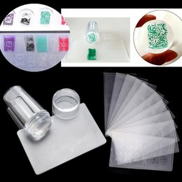 Wholesale Nails Polish Kits - Set Nail Art Stamper Stamping Silicone With Cap Scraper Polish Image Print Plate Template Plastic Transfer Manicure Tools Kit