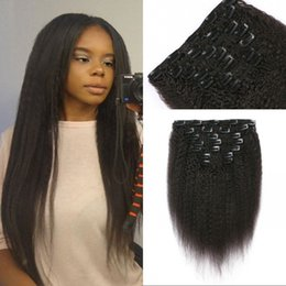 Wholesale 7pcs Set Clip Hair - Brazilian Kinky Straight Clip in Hair Extensions Natural Color 7pcs set Clip ins Coarse Yaki Human Hair FDSHINE