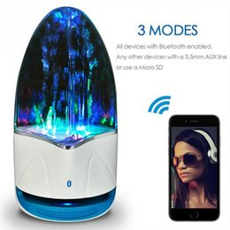 Wholesale led dancing speakers - By DHL Music Fountain Wireless Speaker TF 3.5mm Colorful Light Bluetooth Audio Amplifier LED Water Dancing Speaker for Phone Computer