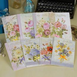 Wholesale Universal Ribbon - Wholesale- 8pcs lot European American Style 3D Applique Silk Ribbon Birthday Day Thank You Greeting Cards Folding Type Universal Card WZ