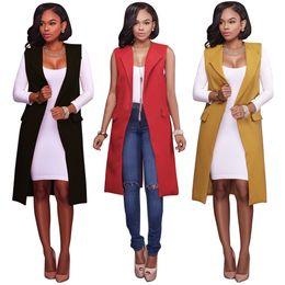 Wholesale Cheap Wholesale Jackets Coats - Women's Sleeveless Open Front Pocket Long Waistcoat Blazer Lapel Suit Vest Jacket Coat Top Cardigan S-XL Wholesale Cheap DHL Fast Shipping