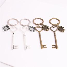Wholesale Charming Heart Key Chain - SWEET BELL 3pcs lot Metal Alloy Zinc Key Chain Fit Round 12.5mm Cabochon Base Heart Key Charm Pendant Diy Jewelry Making C0890