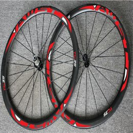 Wholesale Chinese Road Bicycles - WAST red decal chinese carbon wheels tubular clincher 700C 38mm full carbon bicycle wheels ceramic bearing hubs cycling wheels set in stock