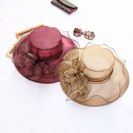 Wholesale Ladies Flat Cap Wholesalers - Retro Floral Net Yarn Large Floppy Foldable Straw Hat For Ladies Vacation Travel Boho Wide Brim Beach Sun Cap Summer Holiday Free Shipping