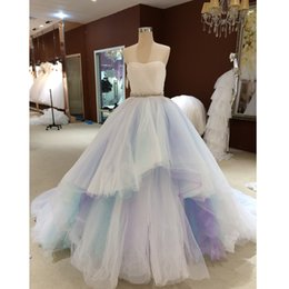 Wholesale Strapless Rainbow Prom Dresses - Rainbow Colorful Prom Dresses 2017 Sweetheart Tiered Tulle Ball Gown Prom Party Dresses Vestidos De Formatura Robe De Soiree