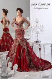 Wholesale Cheap Couture Gowns - Red Evening Dresses Arabic Jajja-Couture Embroidery V Neck Vestidos Ball Gowns Prom Cheap Mermaid 3 4 Long Sleeve Sexy Dress