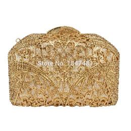 Wholesale diamond prom bags - Wholesale- LaiSC Golden Chain Evening Bag Diamond Pochette Purse Crystal Wedding Clutches Party Prom Formal Handbag Luxury Bling Bag sc456