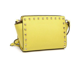 Wholesale Yellow Bags Handbags - Europe and America brand women's handbag Fashion women messenger bag rivet single shoulder bag High quality female bag