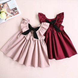 Wholesale Halter Neck Pleated Dress - 2017 Summer baby Girls Deep V-neck Pleated Halter Dress Bow Lotus Leaf children Princess dress Kids Clothes C2283