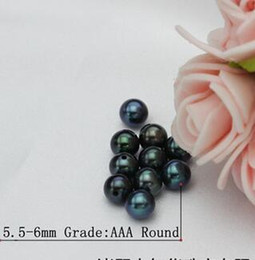 Wholesale Pearl Tahiti - Freshwater pearl 5.5-6mm Tahiti peacock green is small round particles half hole loose beads Free Shipping