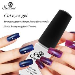 Wholesale Magnetic Nail Varnish - Wholesale- Saviland 1pcs Gel Varnishes Cat's eye UV LED Gel Nail Polish Soak off Varnish 7ml Magnetic Colors Gel
