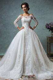 Wholesale over shoulder long dress - 2017 long sleeve lace wedding dresses over skirt amelia sposa mermaid wedding gowns off the shoulders stunning muslim bridal dresses