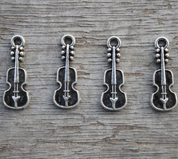 Wholesale Guitar Tone - 40pcs--Guitar Charms, Antique Tibetan Silver Tone mini Guitars Charm Pendants 24x7mm