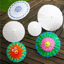 Wholesale Green Handmade Paper - Chinese Craft Longhandle Bridal Wedding Sunshade Umbrella for Kids DIY Painting Paper Bamboo White and DIY Handmade Umbrella 10,15,20,30cm