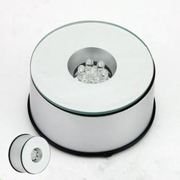 supports à cristaux liquides Promotion 7 LED Light Stand Turntable Base Rotative Unique 360 Degrés Rotation Argent Crystal Display Base Stand 7 couleurs Haute Qualité LED Lumière