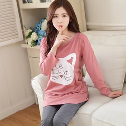 Wholesale Pajama Sets For Girls - Wholesale- 2017 Autumn Winter Women Pajama Sets Print Pink Girls Sleepwear Pajamas Ladies Homewear For Women Nightgown
