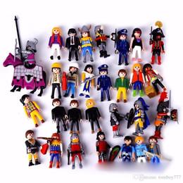 Wholesale Build Boy - 7.5CM Cartoon Toy Playmobil Kids Children'S Birthday Christmas Gift Action Figure building blocks PVC Retro Boy Girl Model Toy