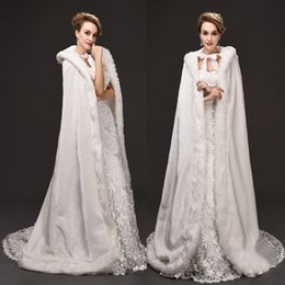 Wholesale Cheap Hooded Wedding Cloak - 2017 New Cheap Romantic Hooded Bridal Capes White Long Wedding Cloaks With Satin Wedding Bridal Wraps Bridal Cloaks CPA973