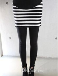 Wholesale Maternity Pants Free Shipping - Free shipping new fashion Pregnant women in black and white striped skirt adjustable strap for Leggings elastic Maternity Pants