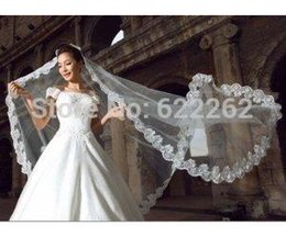 Wholesale Organza Veils - 3 Meters Tulle Head White Long 2015 Wedding Veil Cathedral Train Applique Bridal Accessories Hot Sale Organza Bride Veils