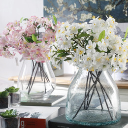 Wholesale Fairy Display - 20Pcs Artificial Cherry Blossom Silk Small Flower Bridal Hydrangea Home Garden Decor Party Fake Flowers Wedding Decorations new