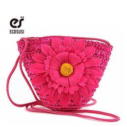 Wholesale Little Girls Pink Handbag - Wholesale- ecosusi 2016 Free Shipping Cute Beach Straw Bags With Flower Women Handbags Cute Cross Body Shoulder Straw Bag For Little Girls